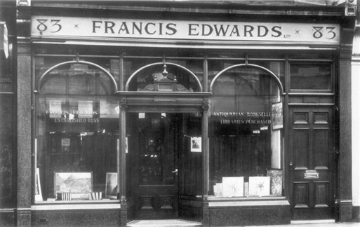 Photo:Francis Edwards, antiquarian booksellers, 83 Marylebone High Street c1935