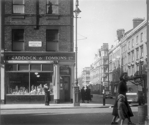 Photo:Junction of Paddington Street and Marylebone High Street in 1953. Photograph by Mrs G M Ahern