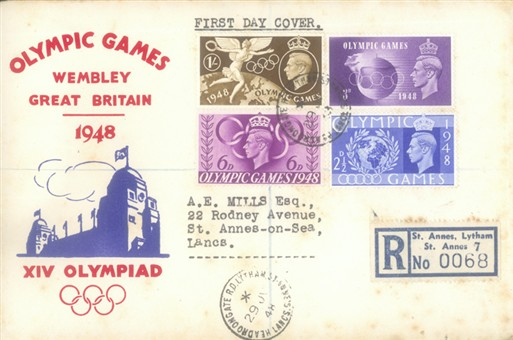 Photo:First day cover for 1948 London Olympics