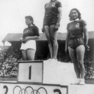 Photo:Medal ceremony for the womens discus at 1948 London Olympics, with Micheline Ostermeyer of France taking the gold medal, Edera Gentile-Cordiale of Italy the silver and Jacqueline Mazeas of France the bronze